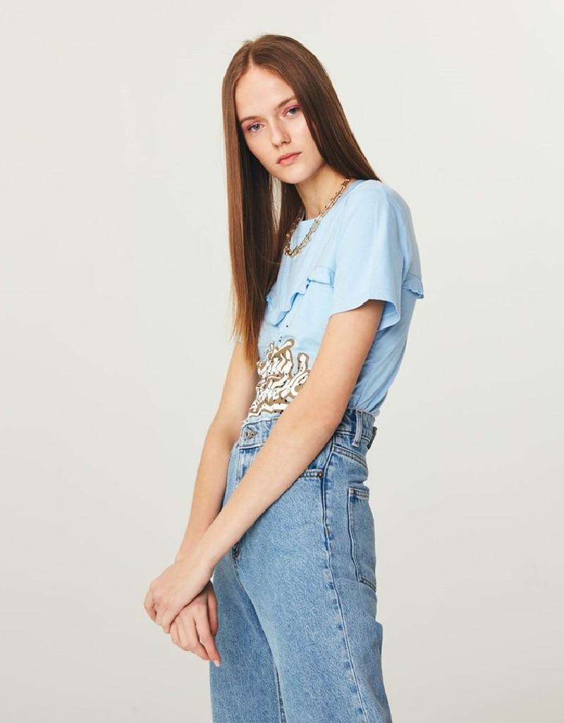 Blue Gathered T-Shirt