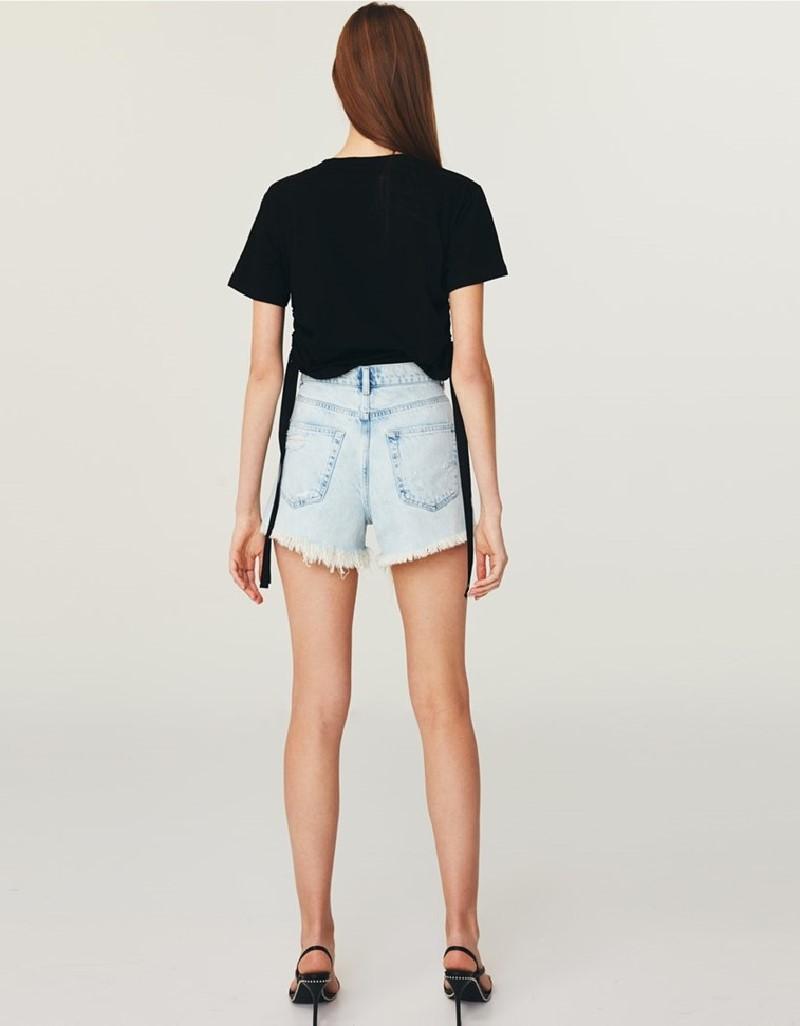 Black Gathered T-Shirt