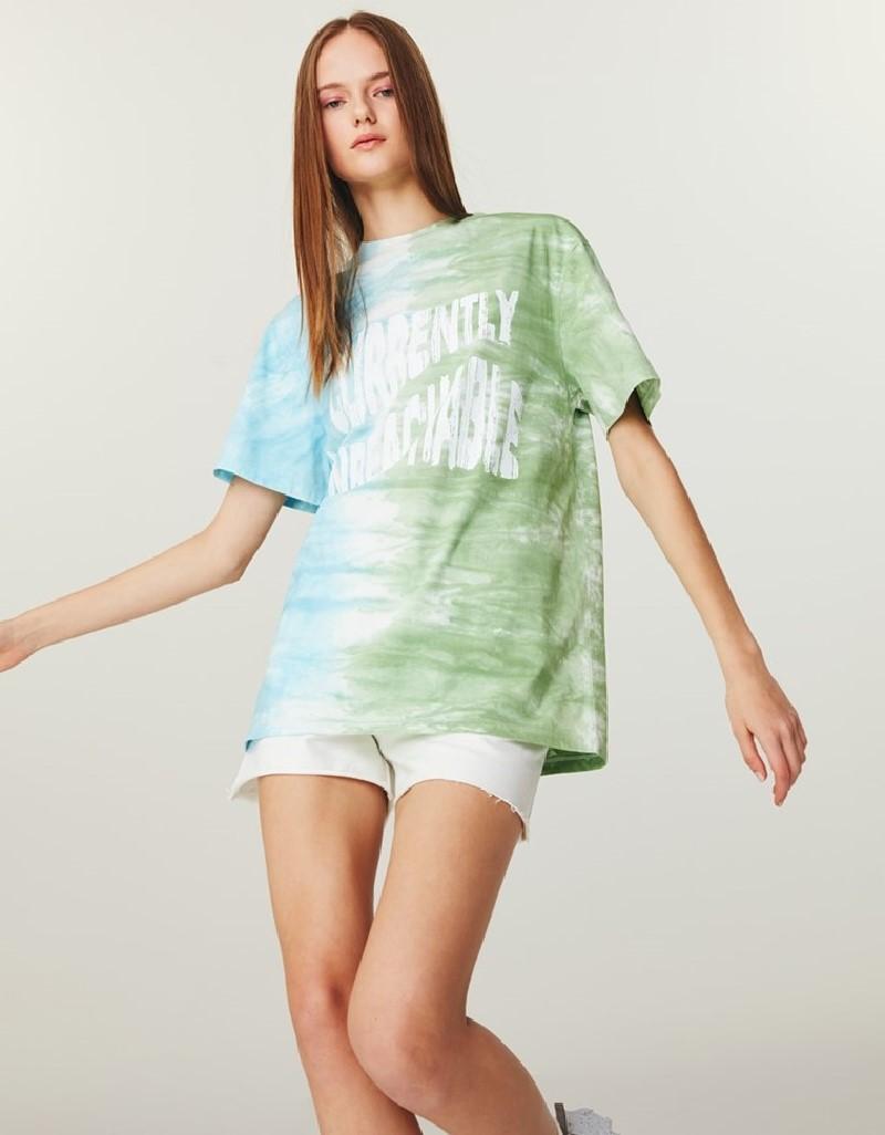 Green Batik Wash Oversize T-Shirt