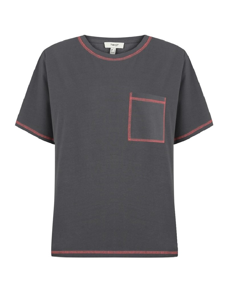 Anthracite T-Shirt With Contrast Stitching