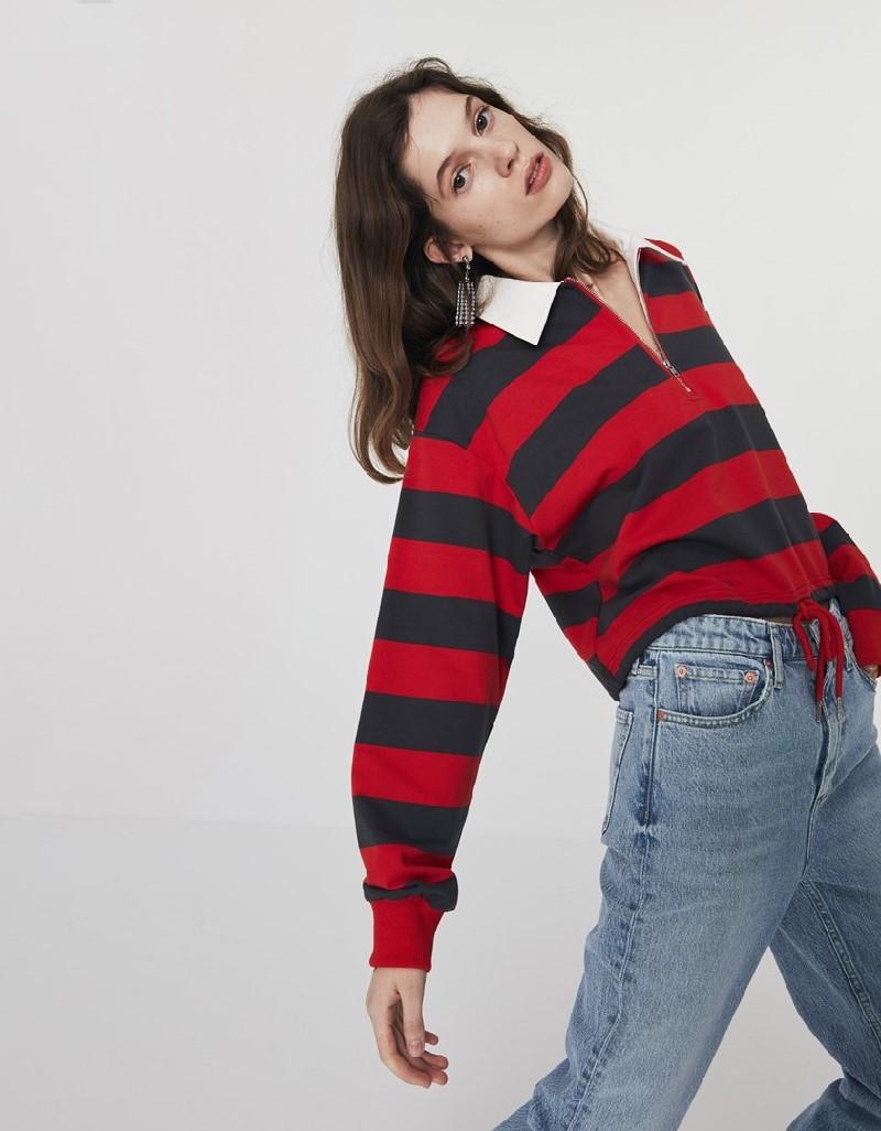 Anthracite Striped Crop Sweatshirt
