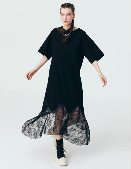 Black Lace Mix T-Shirt Dress