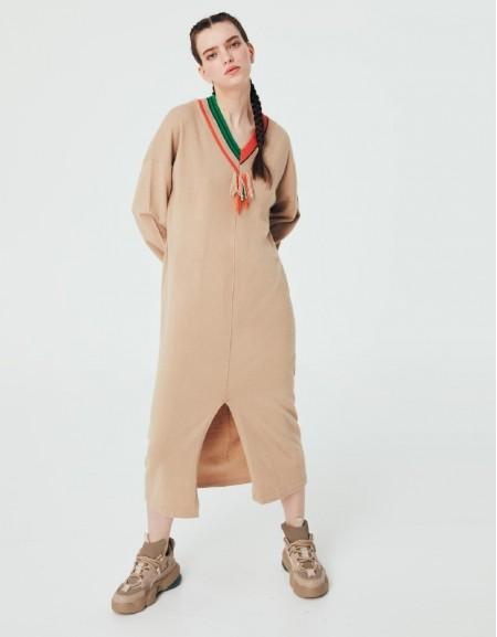 Beige Mlg V Neck Knitwear Dress