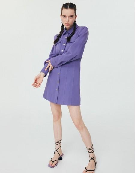 Purple Mini Denim Dress