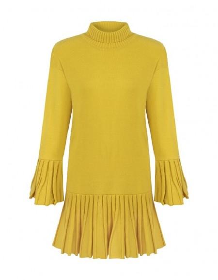 Yellow Pleated Knitwear Dress