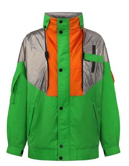 Green Colorblock Coat