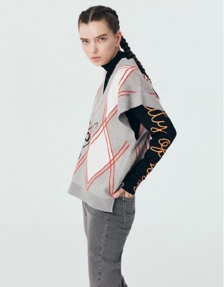 Grey Mlg Plaid Pattern Sweater