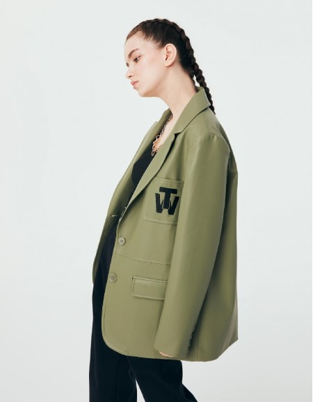 Green Motto Embroidered Leather Blazer