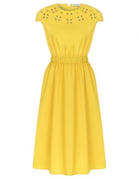 Yellow Odellia midi dress