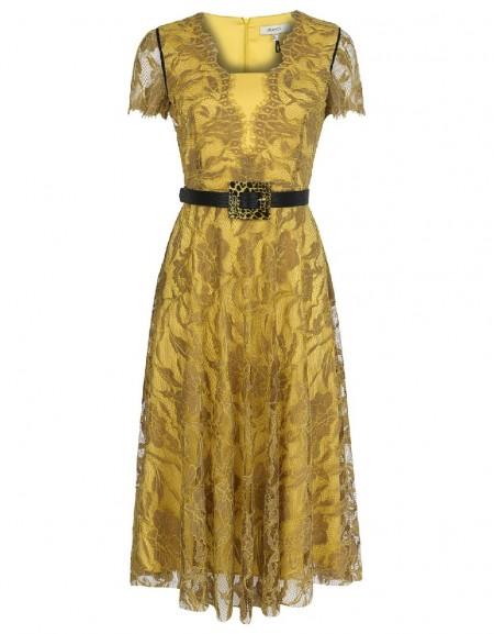 Camel V neck lace dress