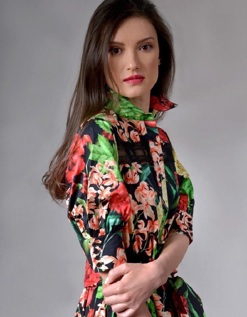 Black Botanical floral dress