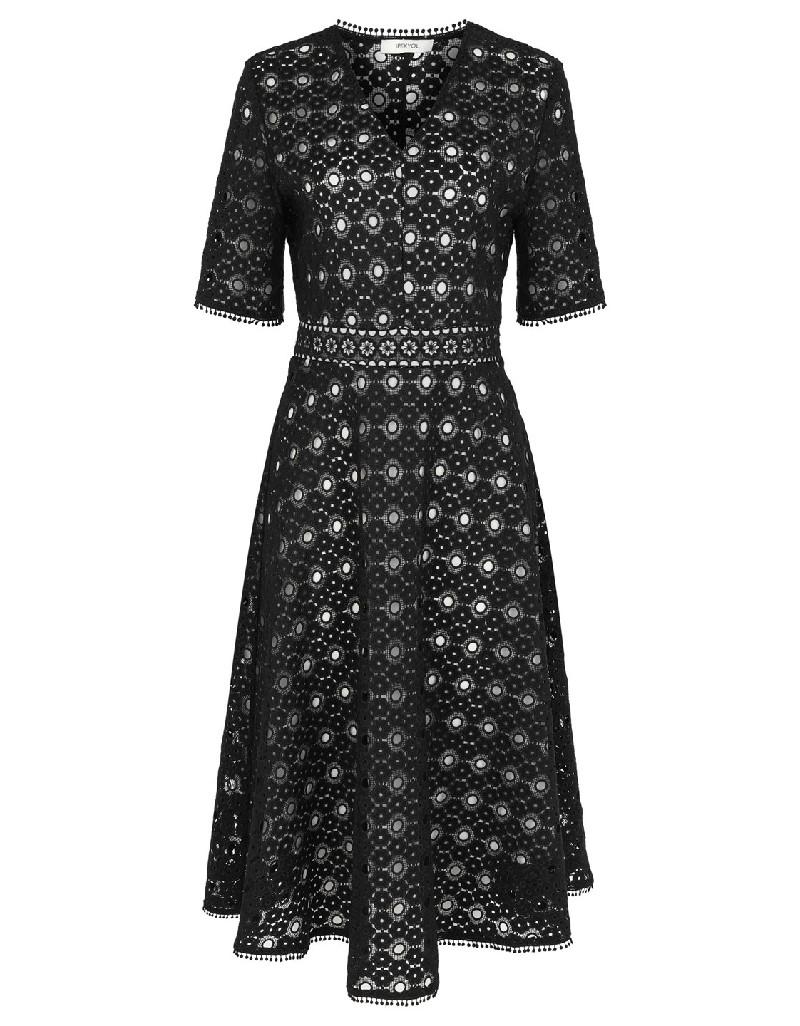 Black Geometric guipere lace dress