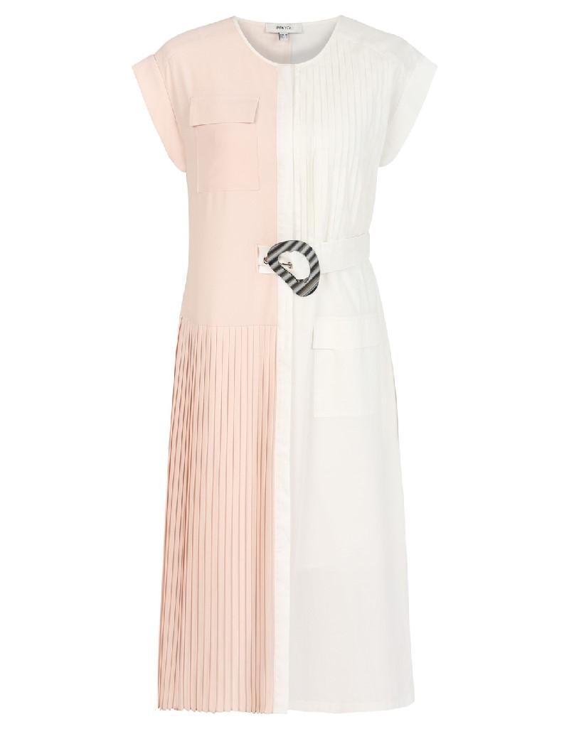 Beige Semi pleated dress