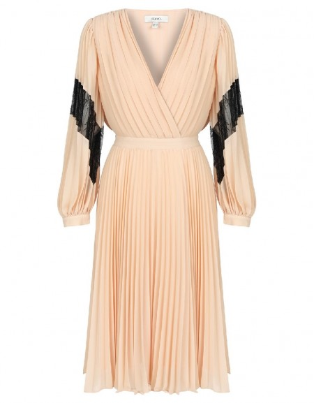 Powder Pleated wrap chiffon dress