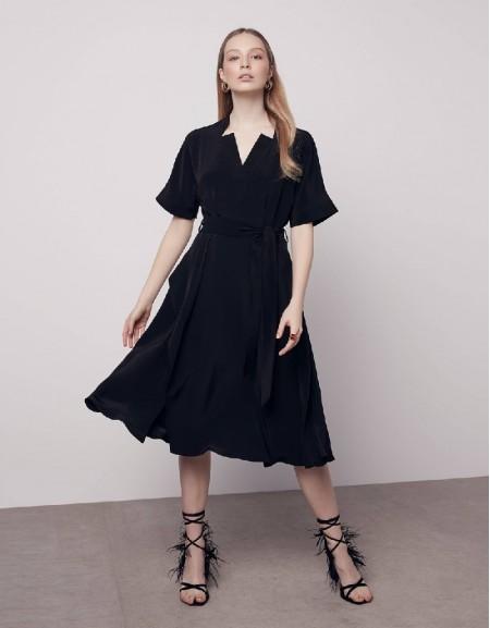 Black Collar detailed dress