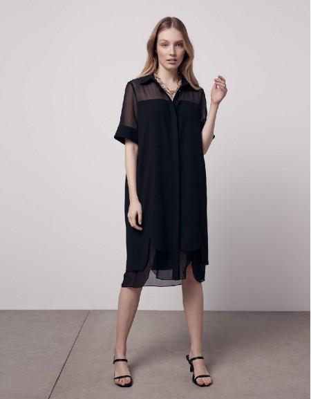 Black Chiffon mix shirt dress