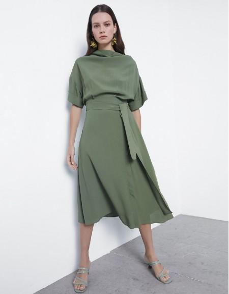 Khaki Cowl Neckline Dress