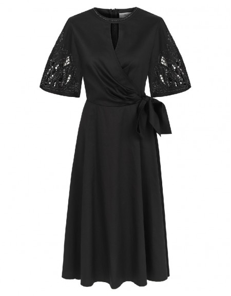 Black Sequenced sleeves & neckline dress