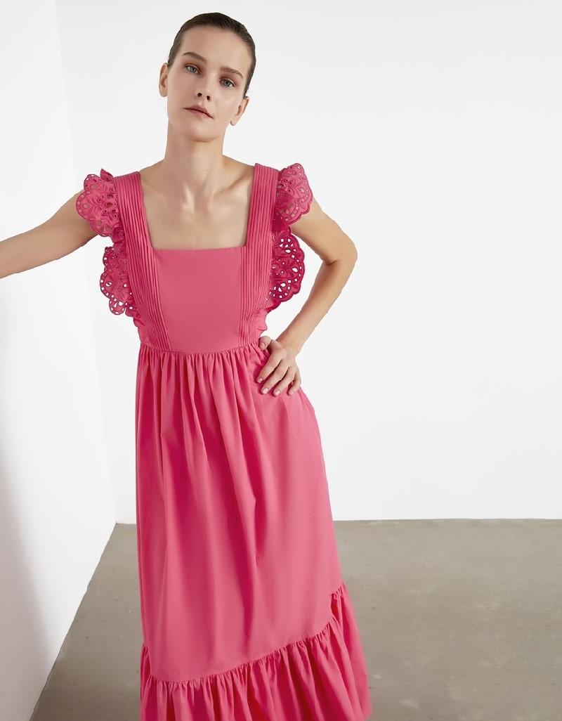 Pink White Embroidery Ruffle Dress