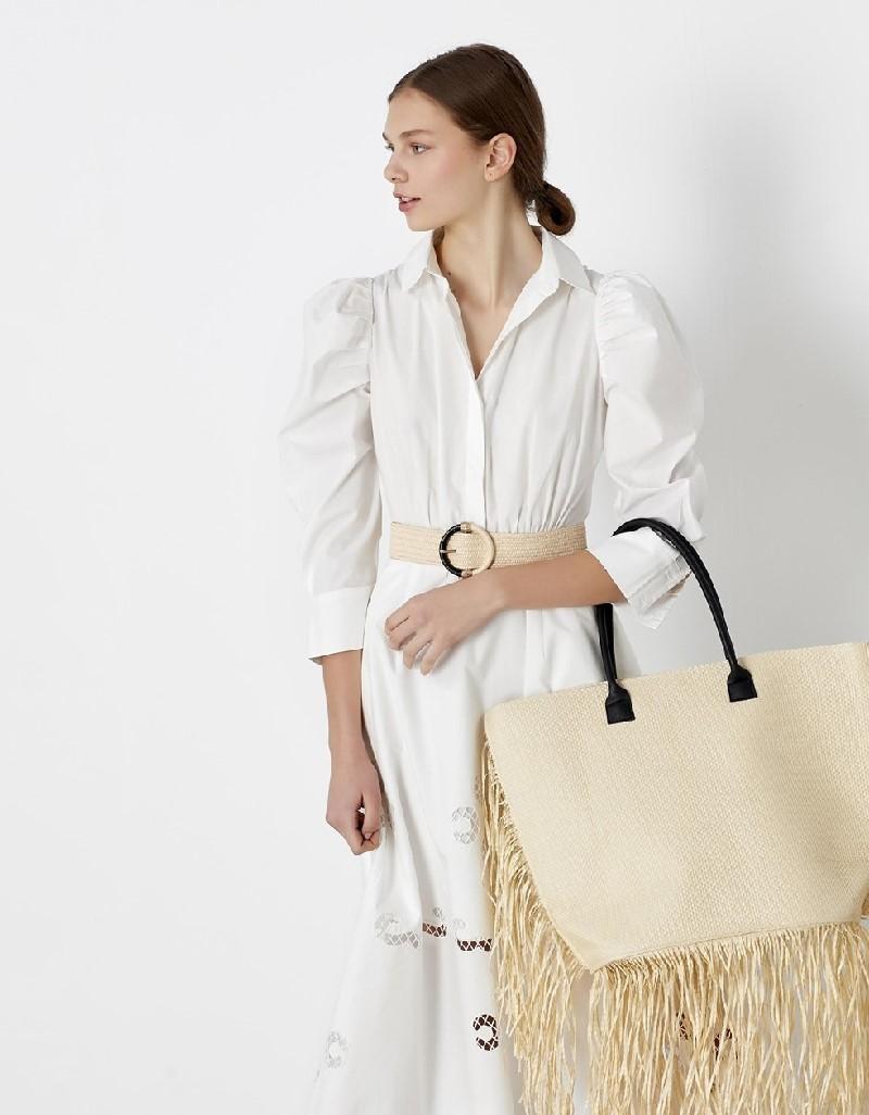 White Balloon sleeve dress