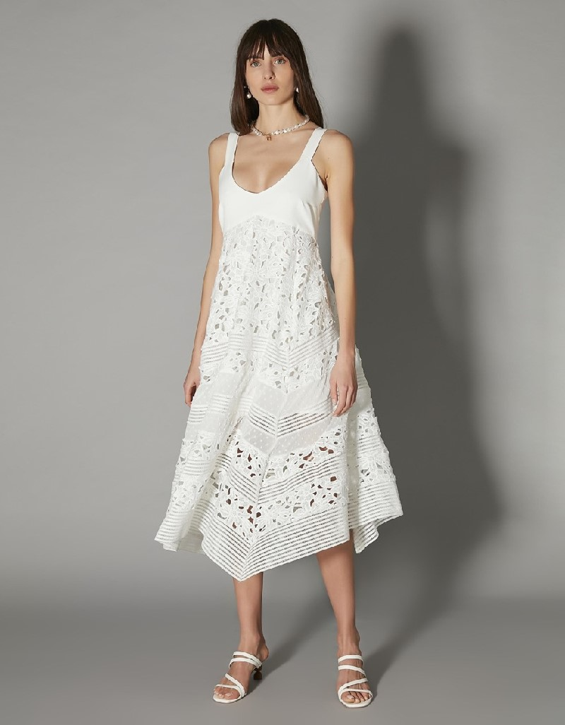 White Asymmetrical cut guipure dress