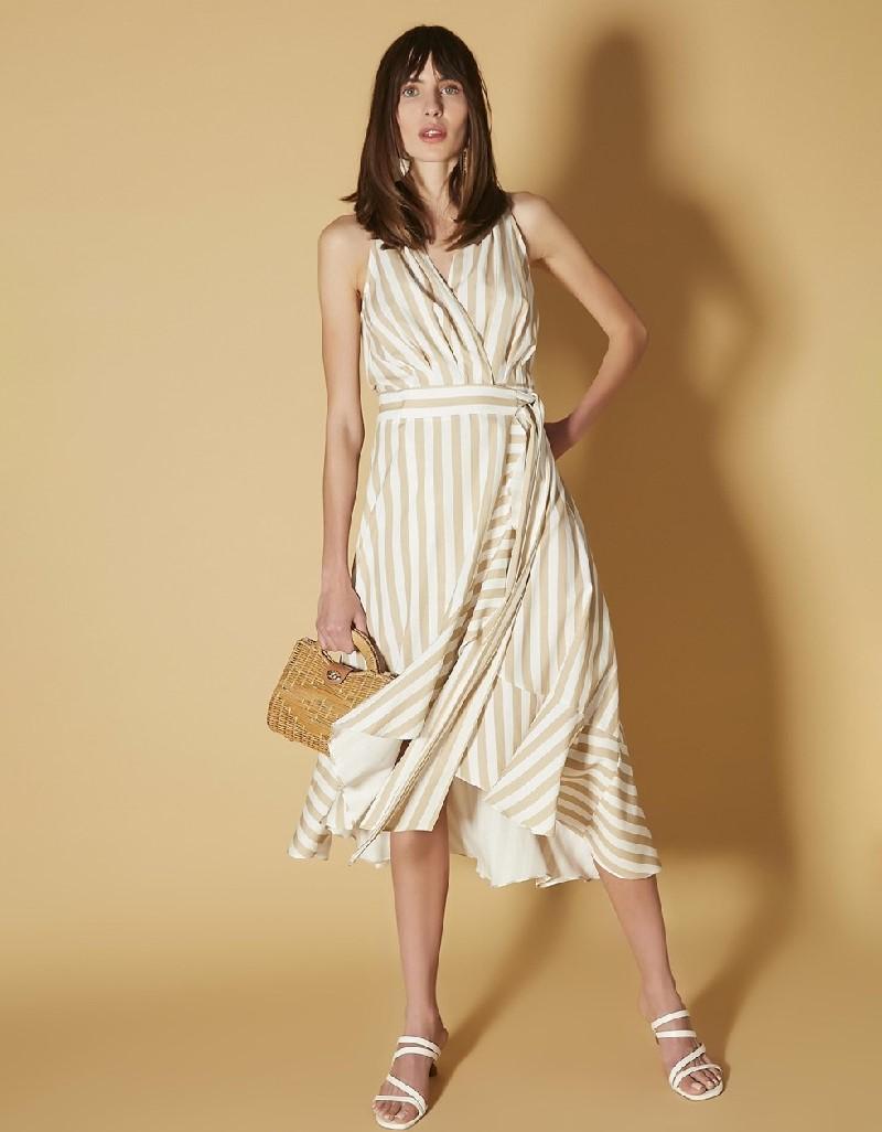 Khaki Wrap-over form belted dress