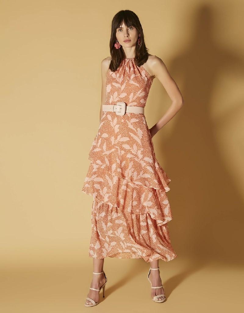 Salmon Ruffle striped dress