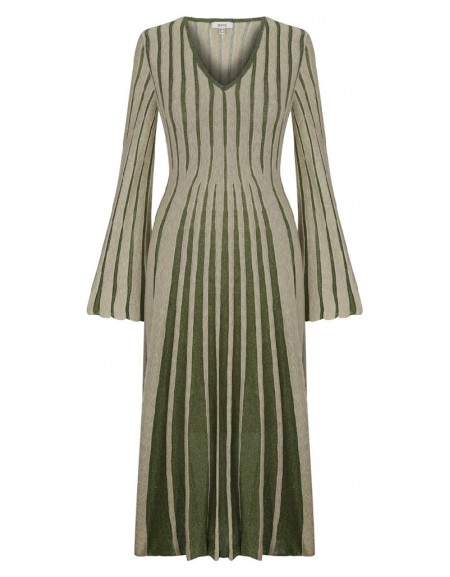 Green Striped Knit Maxi Green Dress