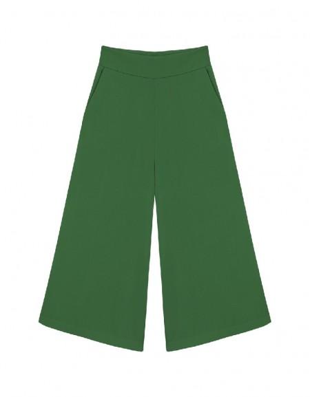 Green Wide leg midi trousers