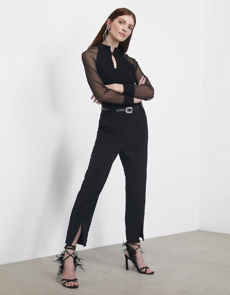 Black Pants with cuff slit