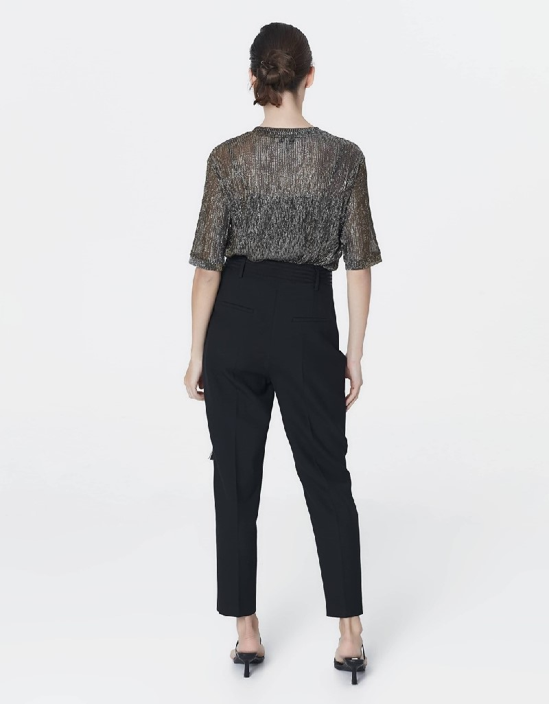 Black High waist pants with belt