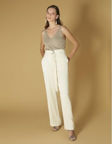 Oil High waist pants with belt