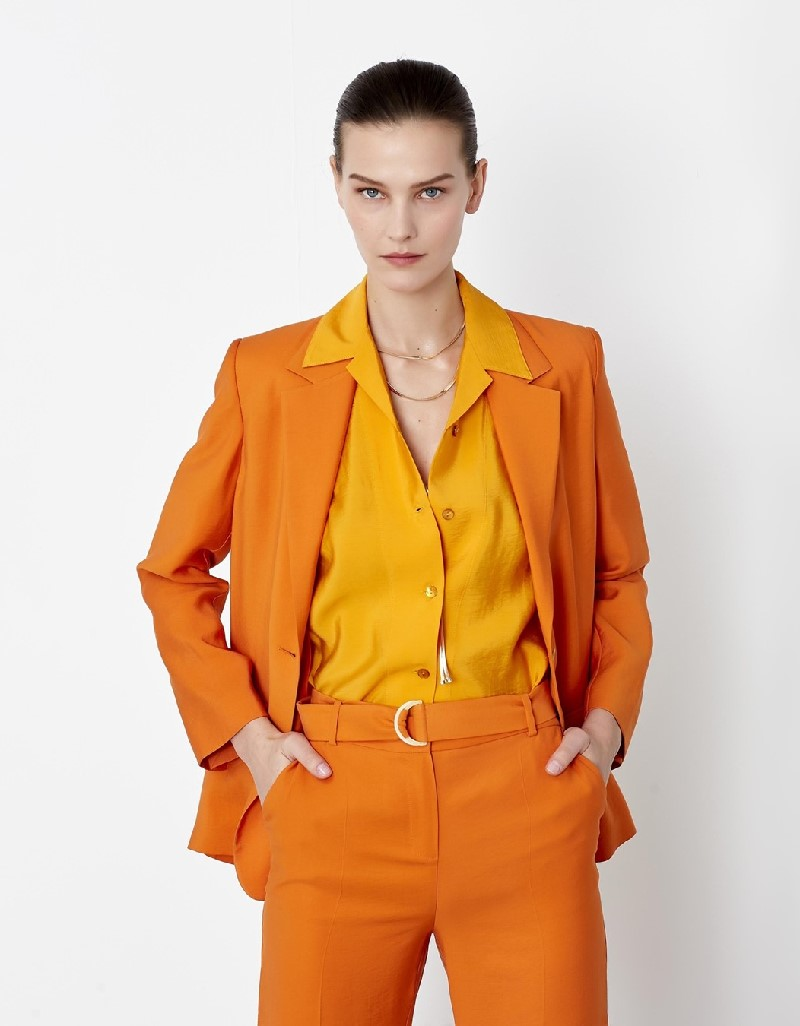 Orange High Waisted Belted Pants
