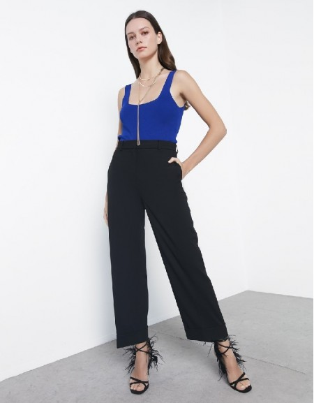 Black Double Hem Pants