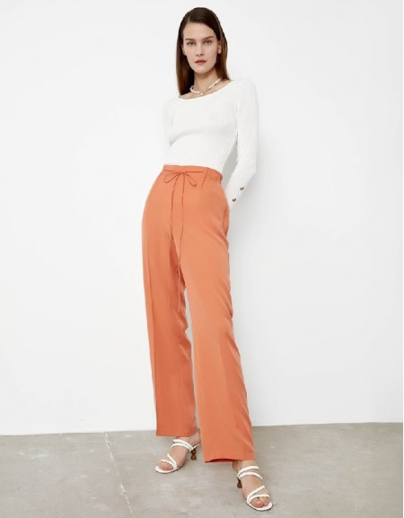 Salmon Elastic waisted pants