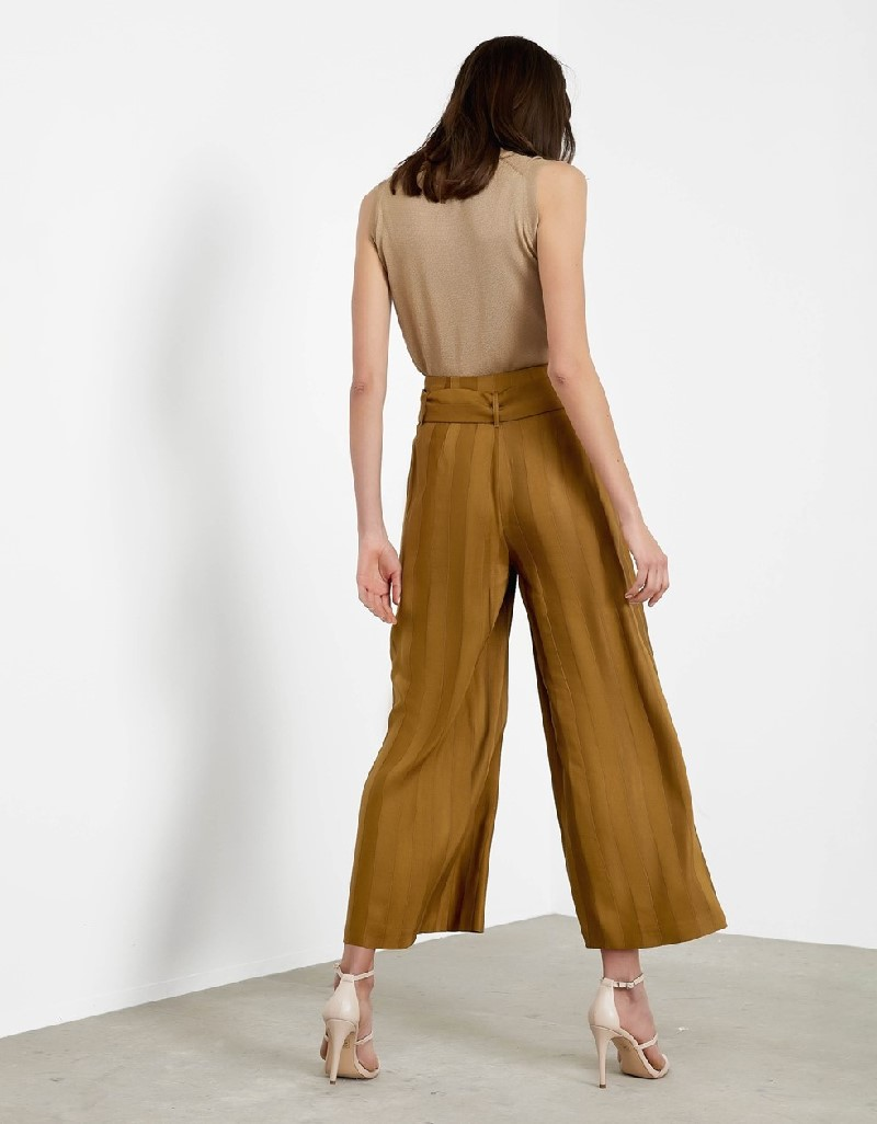 Khaki High waisted belted pants