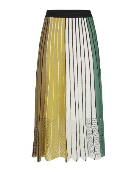 Green Tricolor knitted skirt