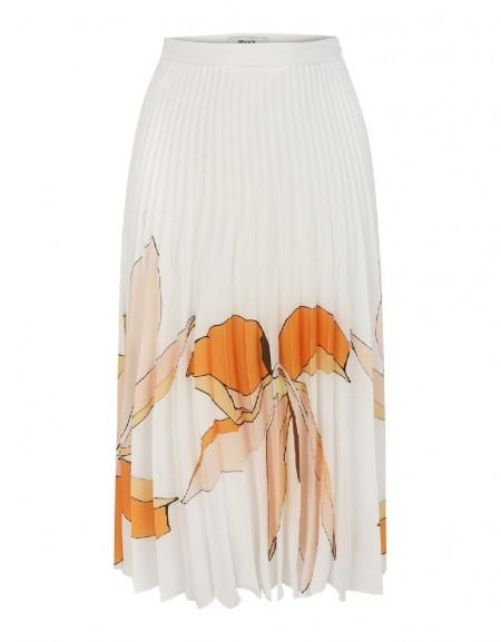 Ecru Floral pleated skirt