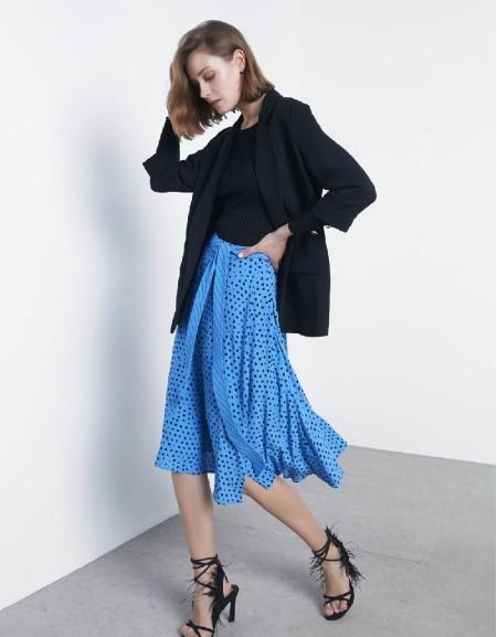 Blue Polka dotted skirt