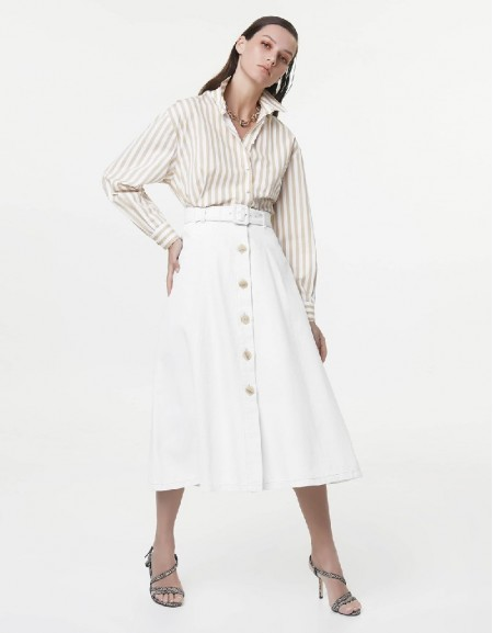 Off White Belted A-line skirt