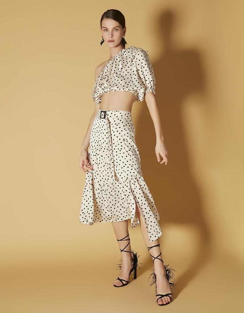 Ecru Polka Dotted Belted Skirt