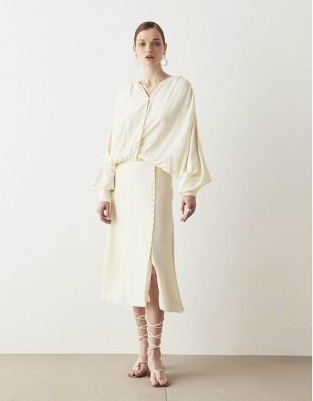 Oil Satin Midi Skirt