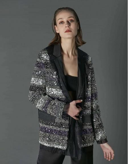 Black Sequin satin jacket