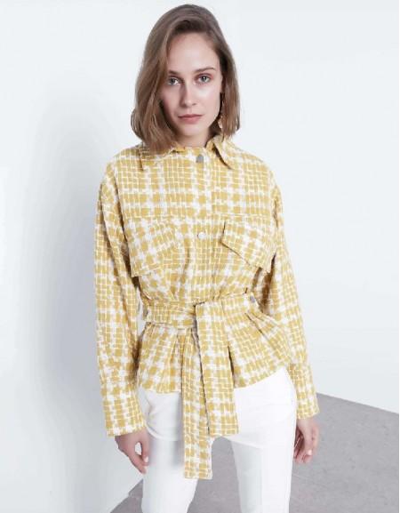 Yellow Belted tweed jacket