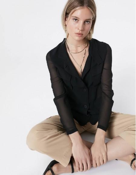 Black Chiffon mix jacket
