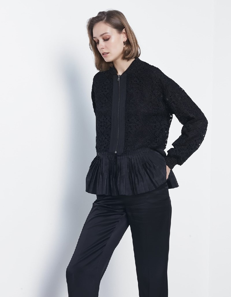 Black Pleated lace jacket