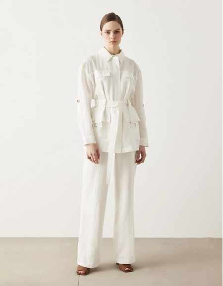 Off White Laser Cut Fabric Mix Jacket