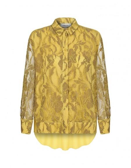 Camel Botanical lace blouse