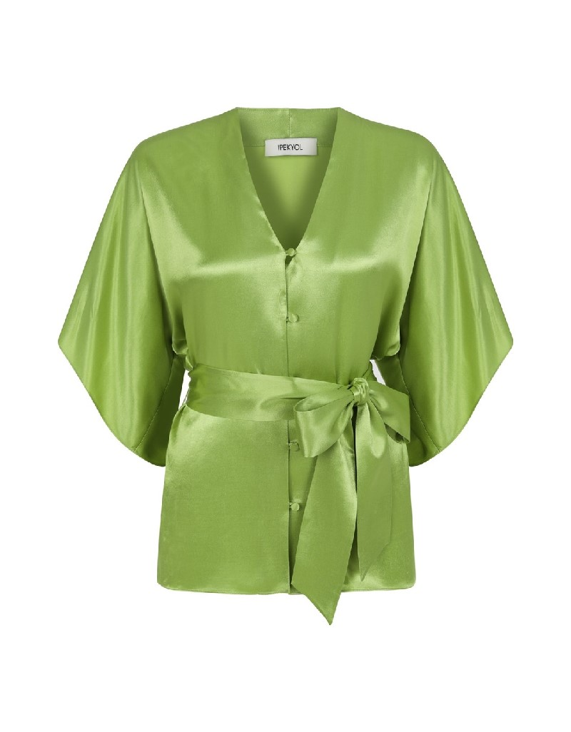 Green Buttoned front silk blouse