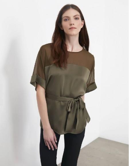 Khaki Double sleeve blouse